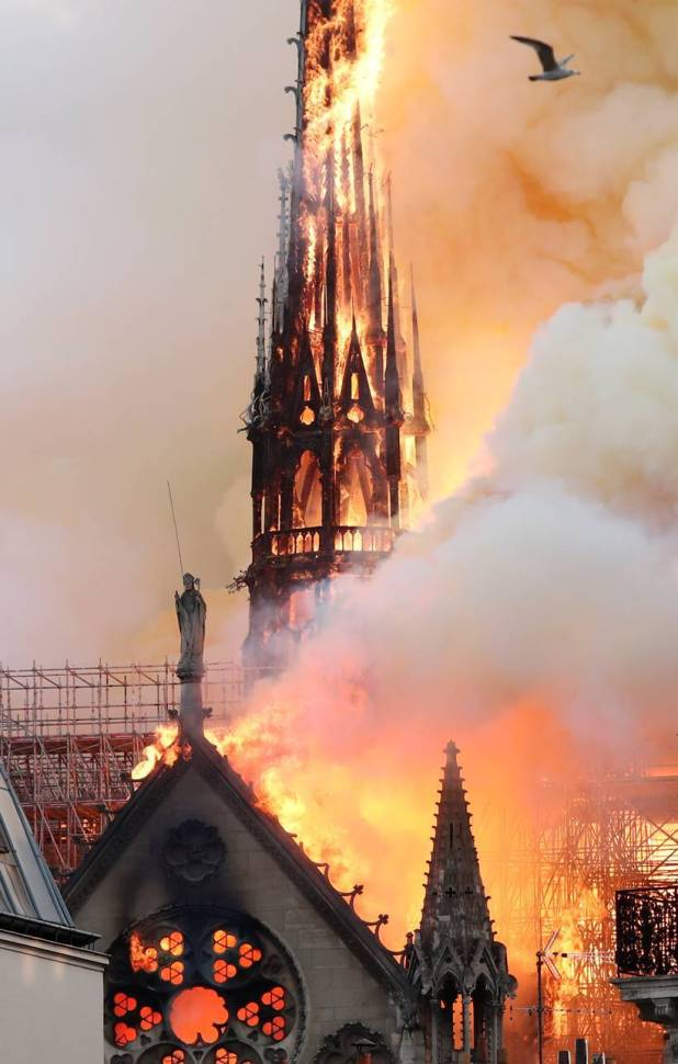 Paris' Notre Dame Cathedral ablaze, part of spire collapses