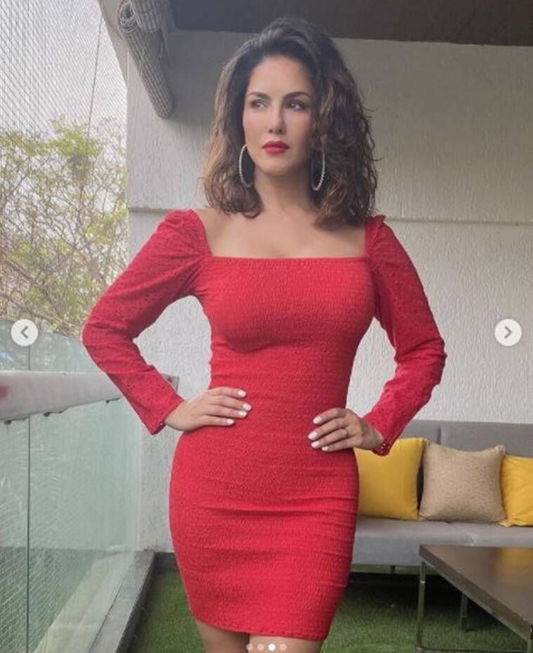 5 8 Sunny Leone is ringing in the holiday spirit with this bright outfit; see pics