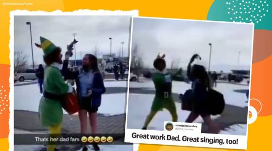 Christmas, buddy the elf, dad dressing up as an elf, dad video girl daughter, christmas eve, viral video, trending, indian express, indian express news