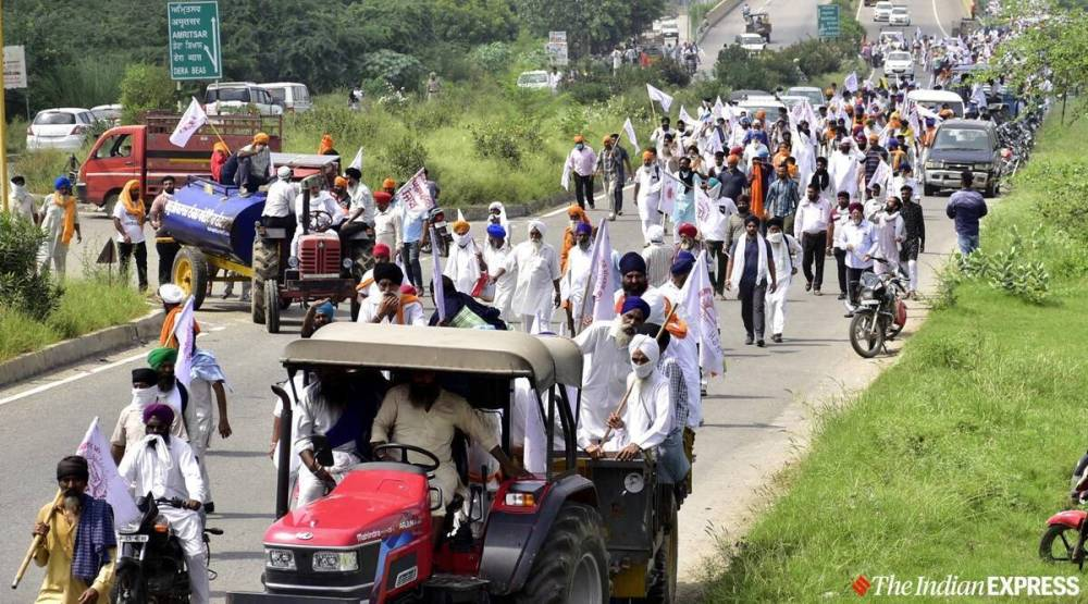 Sutlej Yamuna Link canal, Farmers protest, BJP members at protest site, Chandigarh news, Ludhiana news, Indian express news