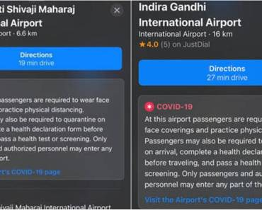 Apple Maps will show Covid-19 traffic signals at airports