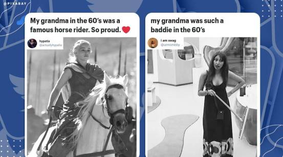Internet users celebrated celebrities as their grandparents in the latest viral trend on Twitter