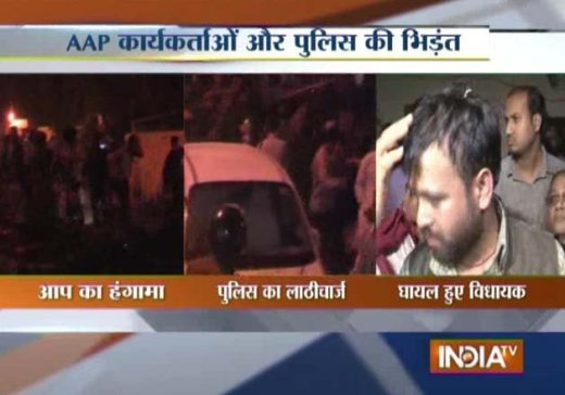 Police lathicharge AAP workers in Delhi, registers FIR against two MLAs for inciting mob