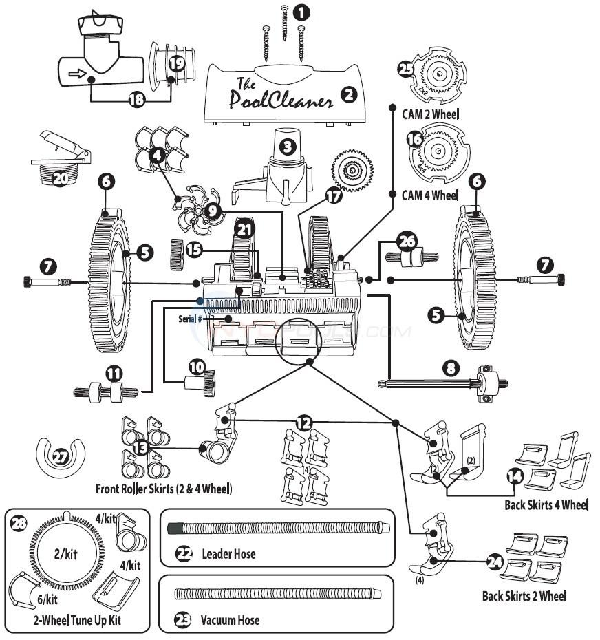 Poolvergnuegen Suction Cleaner 2X & 4X Parts  INYOPools