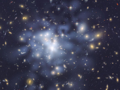 Hubble Space Telescope image of inferred dark matter in the centre of the giant galaxy cluster Abell 1689
