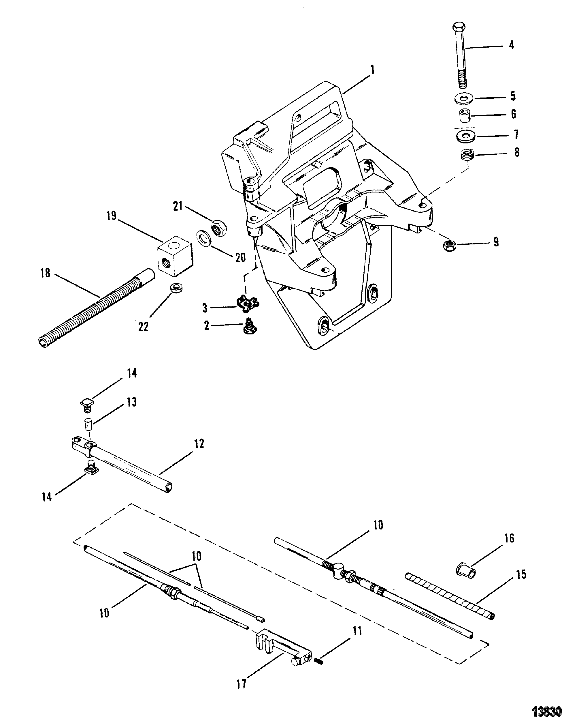 Transom Plate And Shift Cable For Mercruiser Alpha One Gen