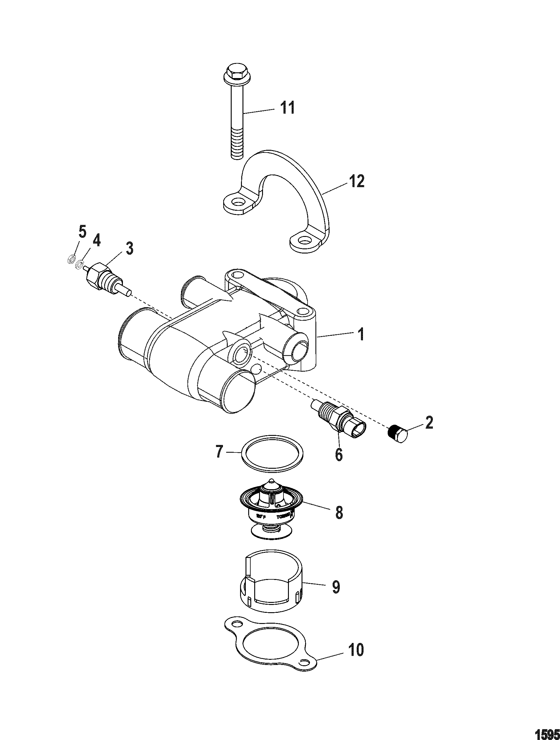 Thermostat And Housing Multi Point Drain For Mercruiser 5