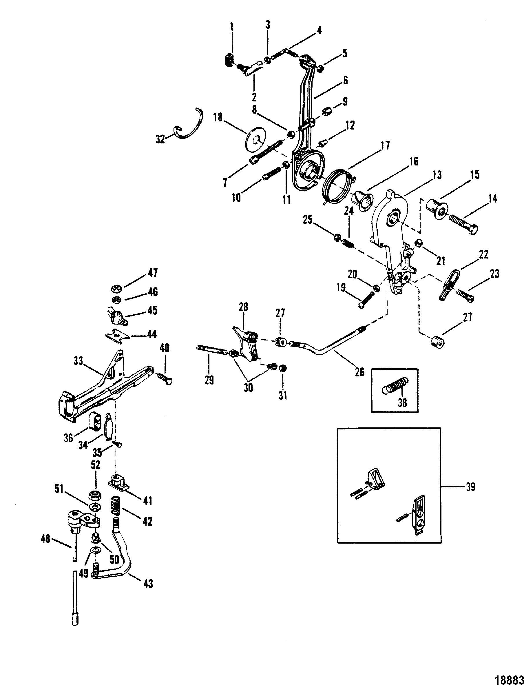 Throttle Lever And Shift Shaft For Mariner Mercury Sea