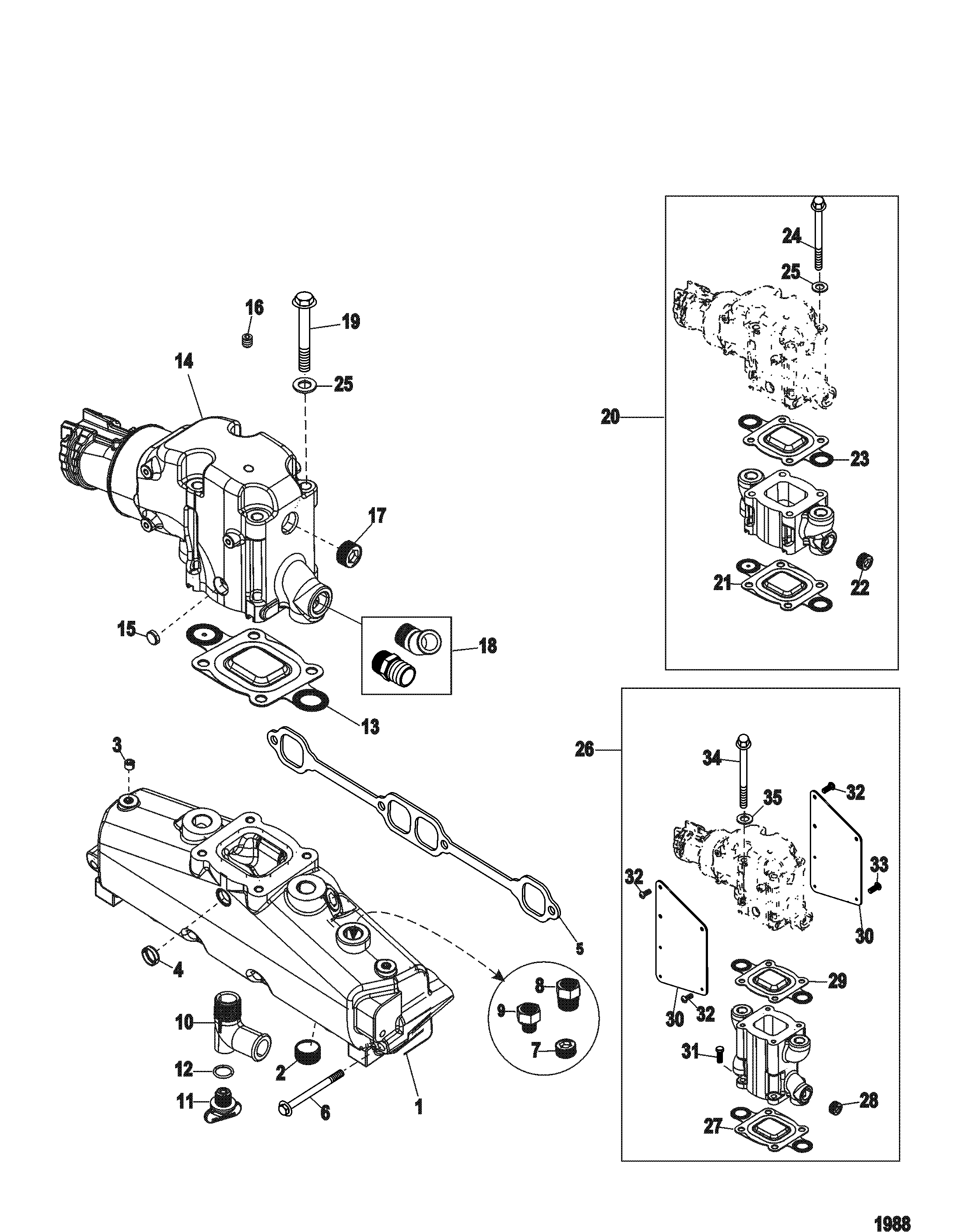 Exhaust Manifold And Elbow For Mercruiser 5 0l 5 7l