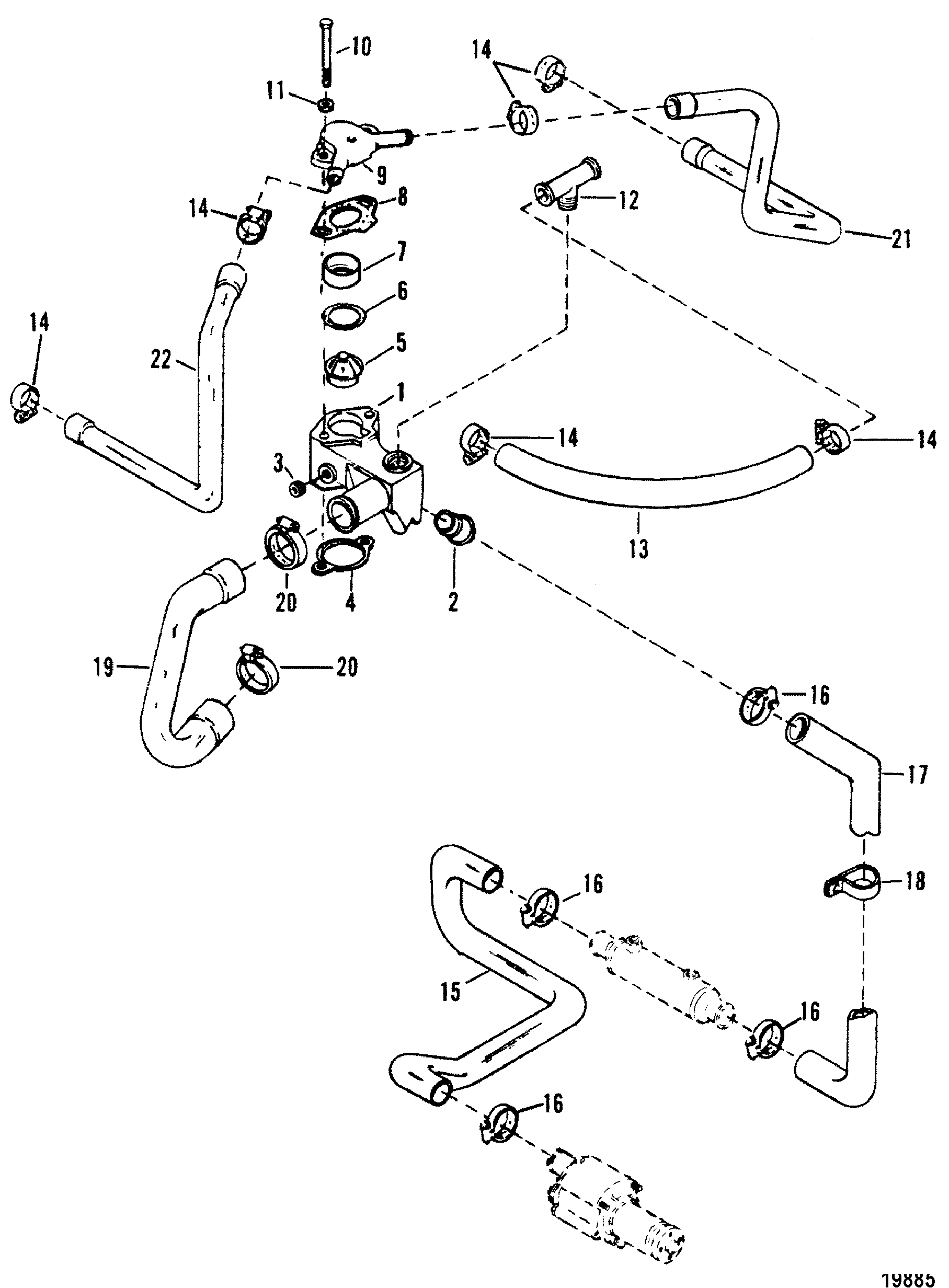 Thermostat Housing Standard Cooling For Mercruiser Mie