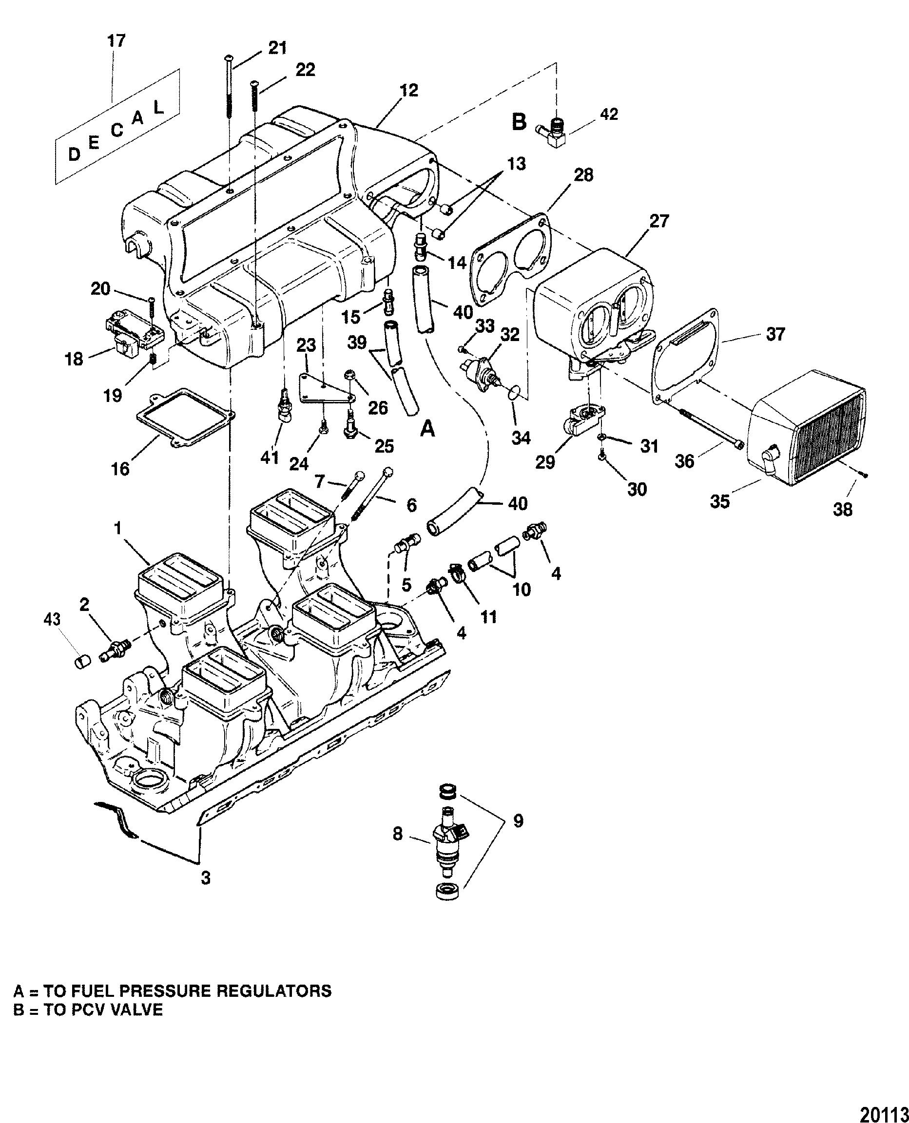 Intake Manifold And Intake Plenum For Mercruiser 454 502