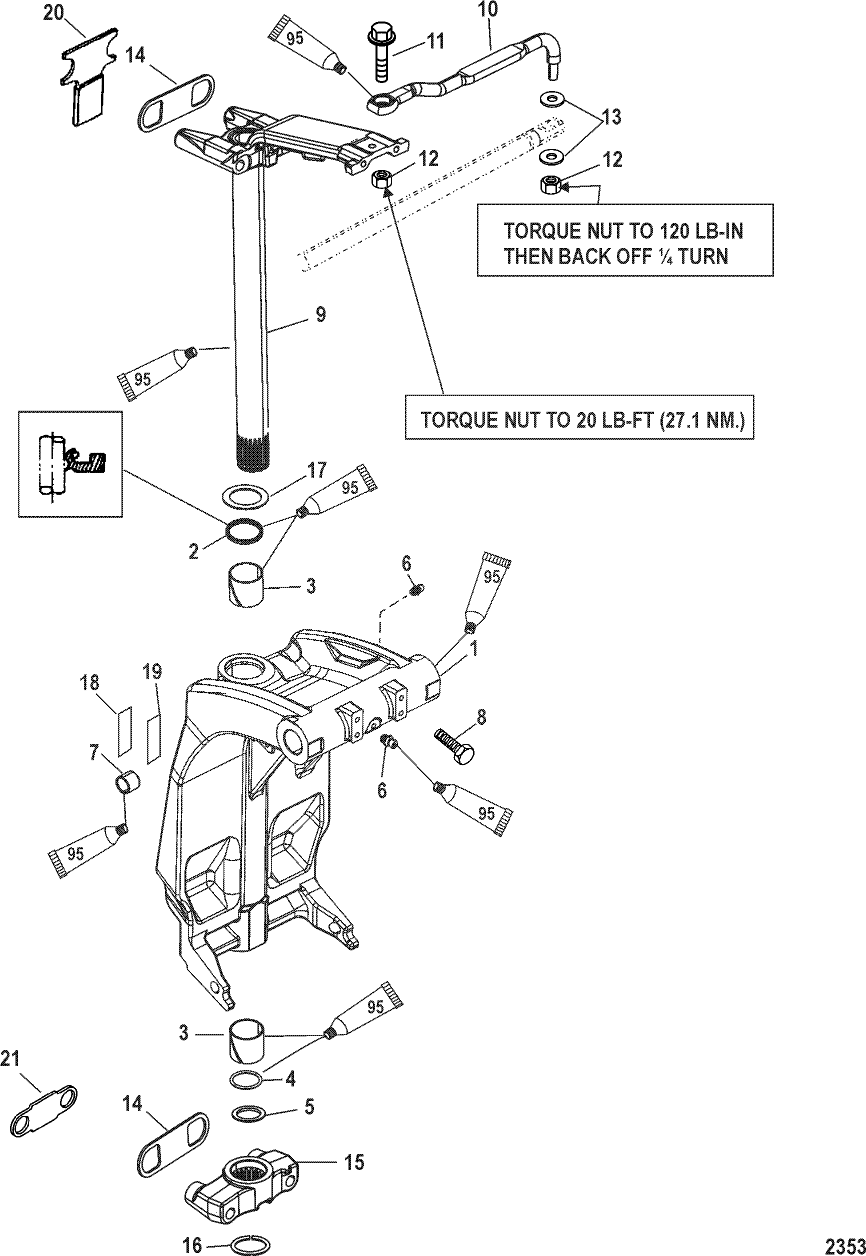 Swivel Bracket And Steering Arm For Mariner Mercury 100