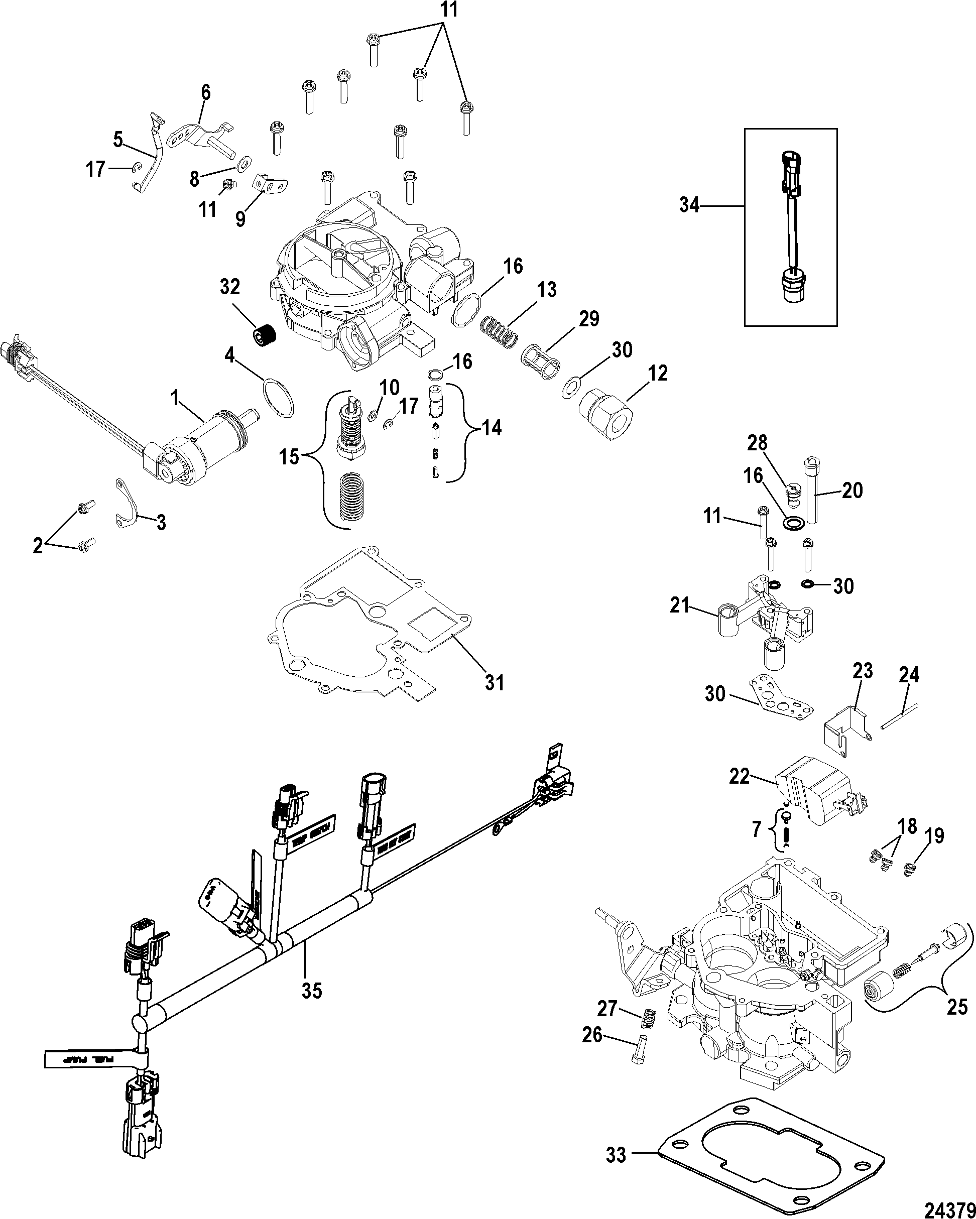 Carburetor Kit Tks For Mercruiser 5 0l 5 7l Sterndrive