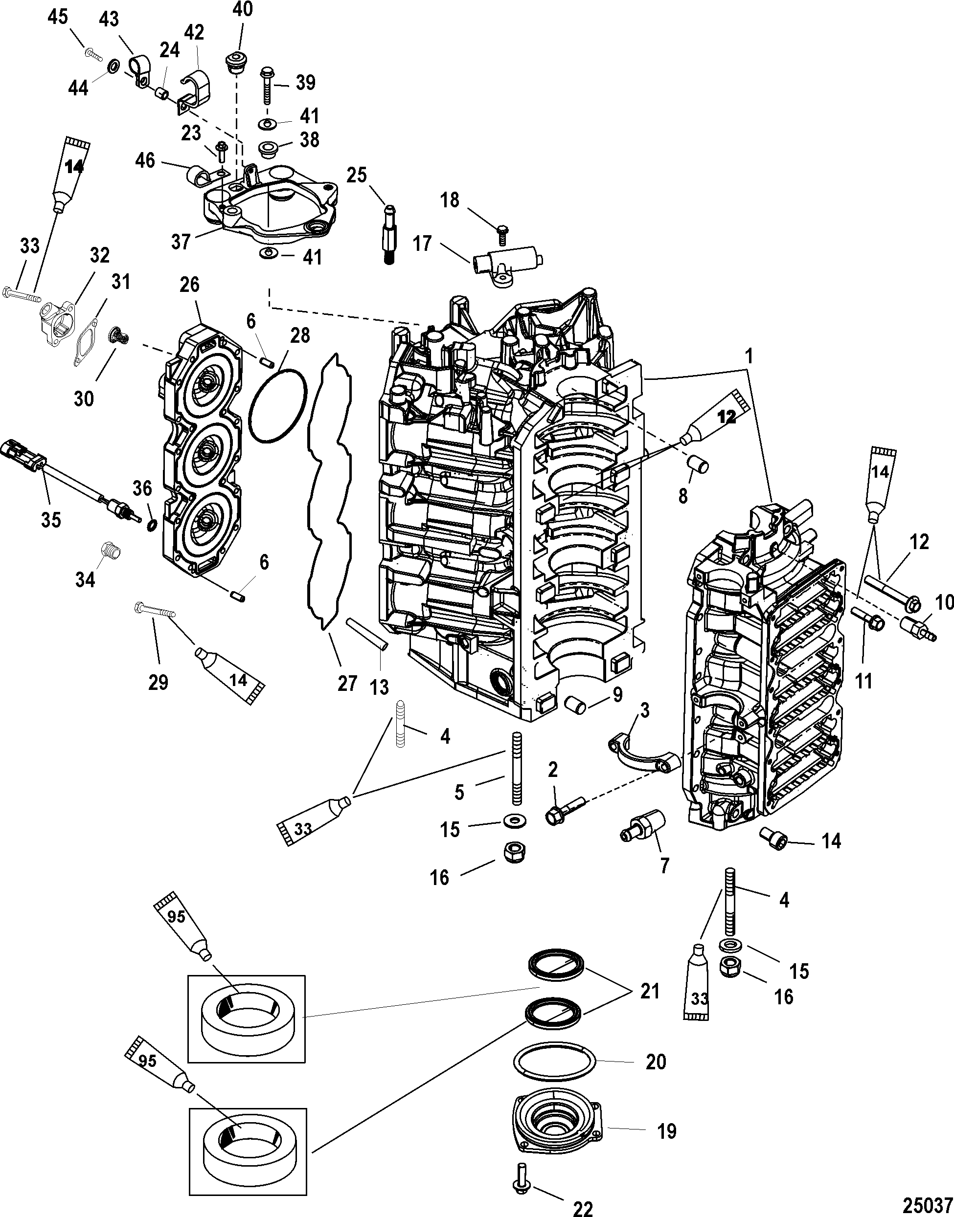 Cylinder Block And End Cap For Mercury Race Outboard