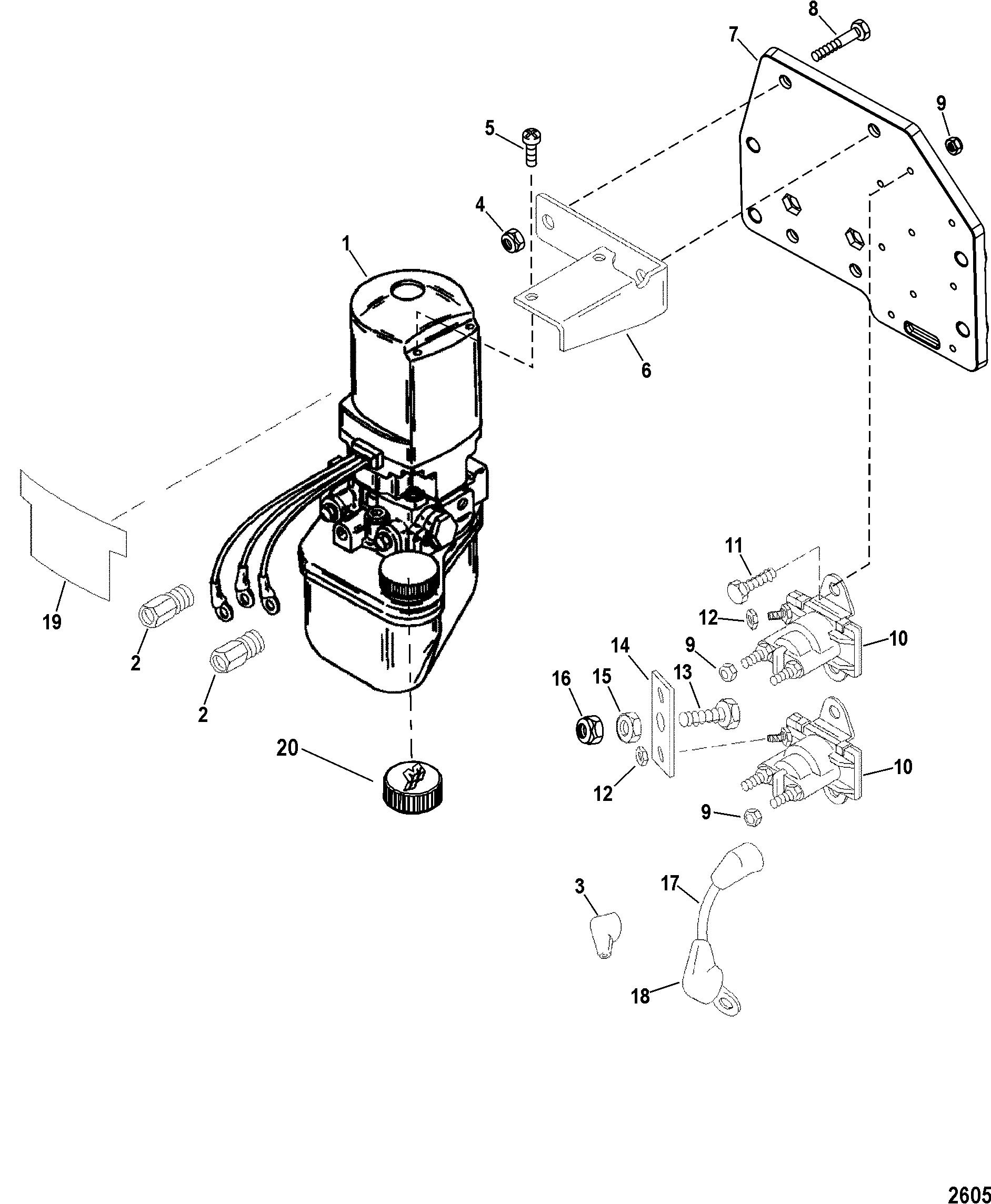 Pump Motor Plastic Resevoir A05 For Trim Tilt