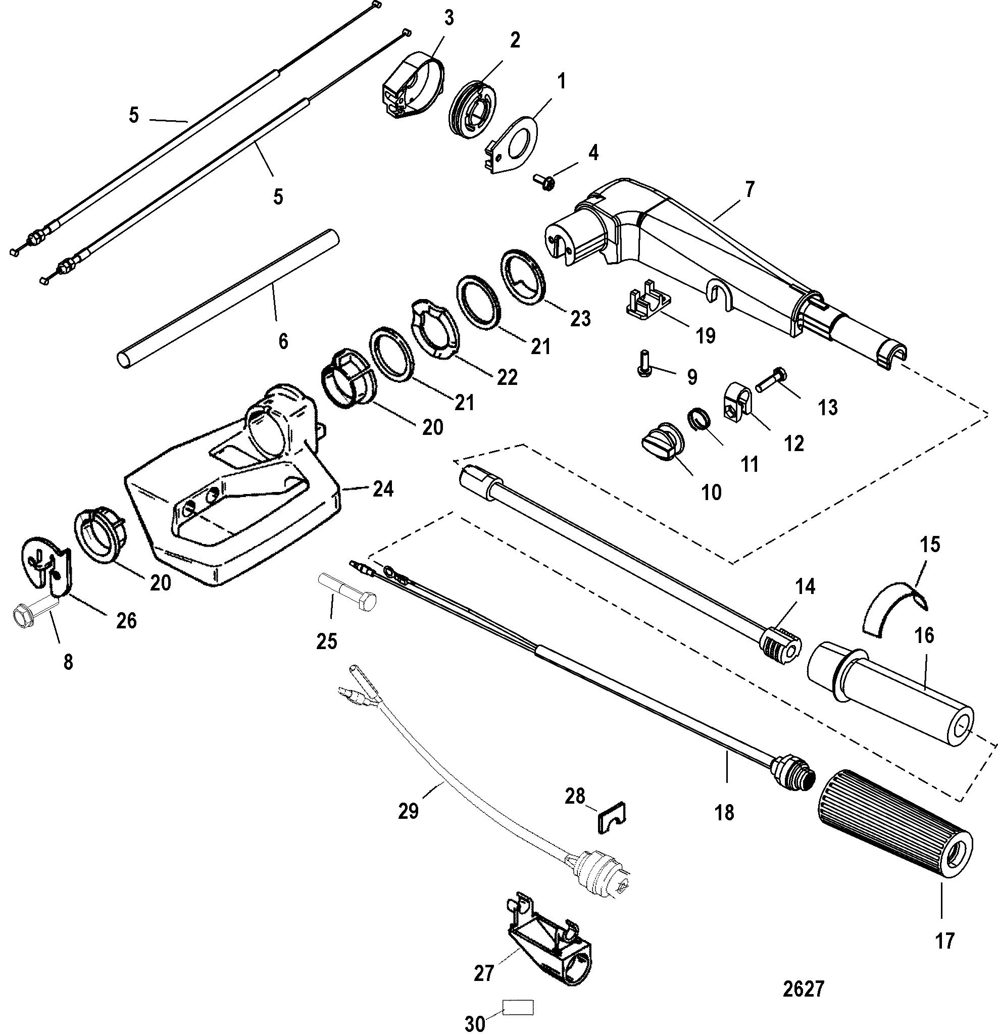 Tiller Handle For Mariner Mercury 9 9 13 5 15 4 Stroke