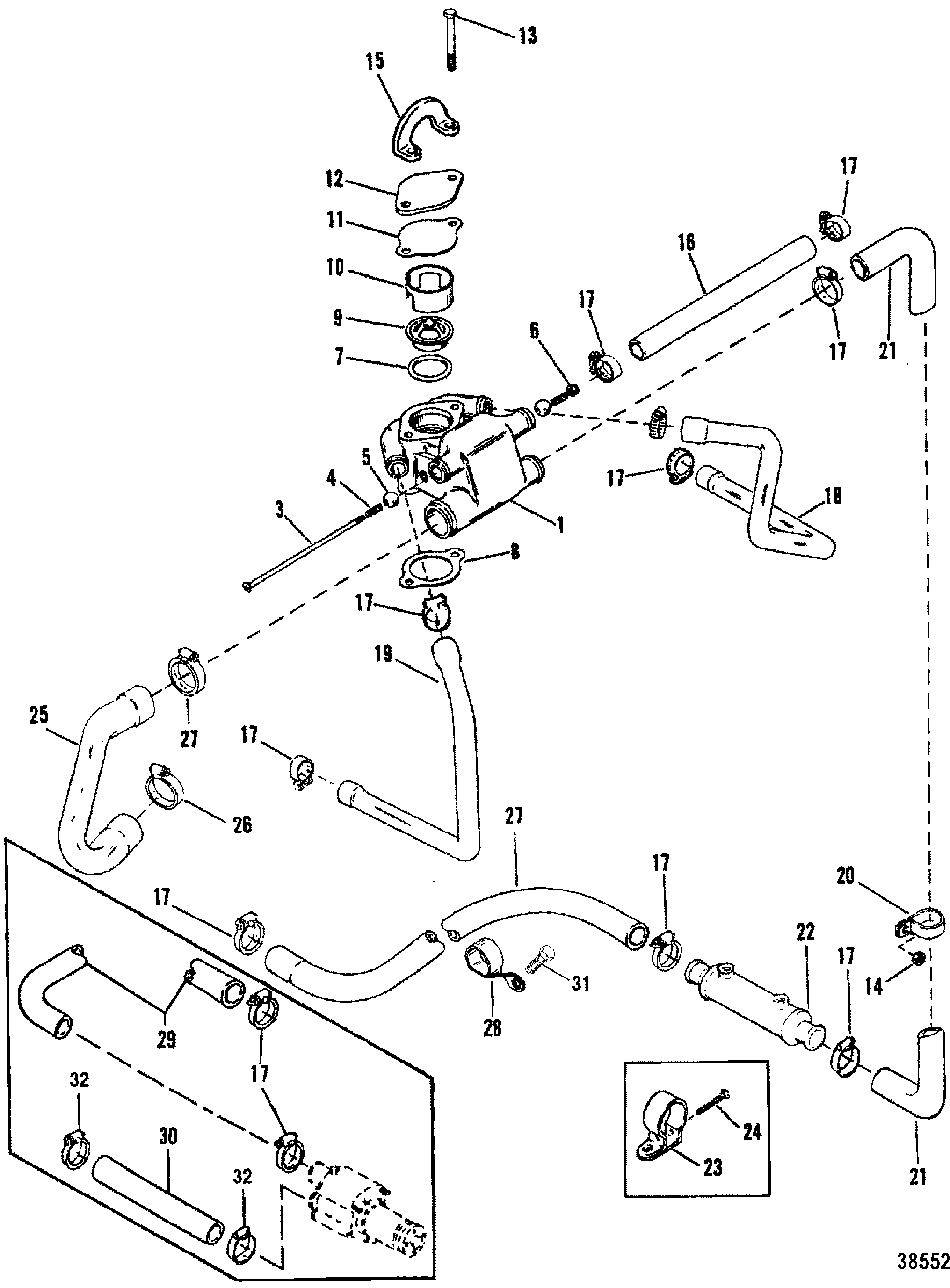 Standard Cooling System Design Ii For Mercruiser 200 5 0l