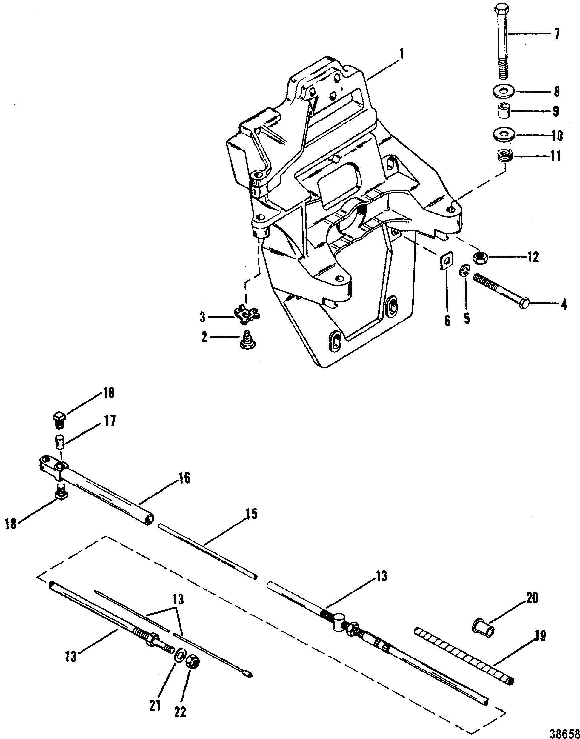 Transom Plate And Shift Cable For Mercruiser Bravo I Ii