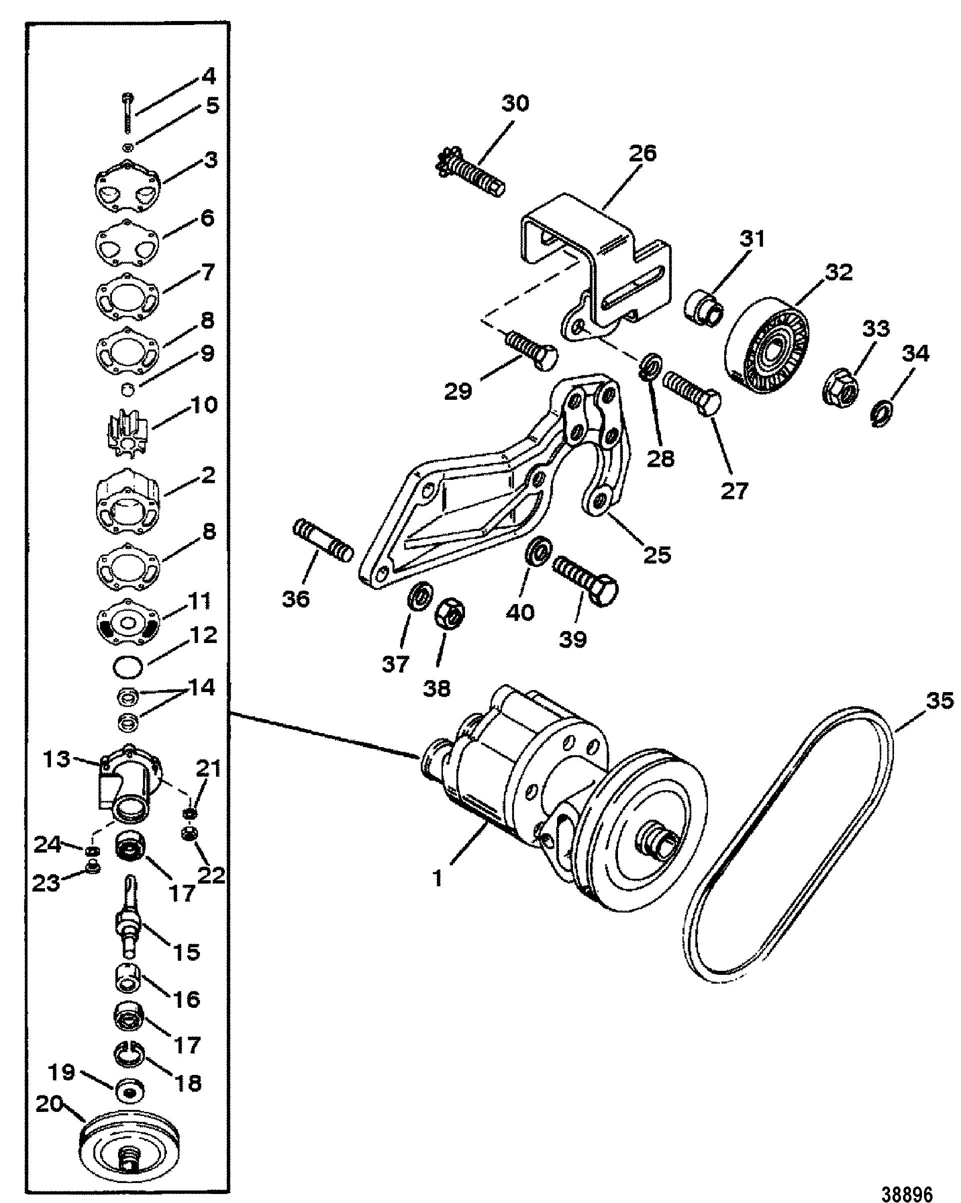 Sea Water Pump For Mercruiser 7 4l 454 Mag Bravo Gen V
