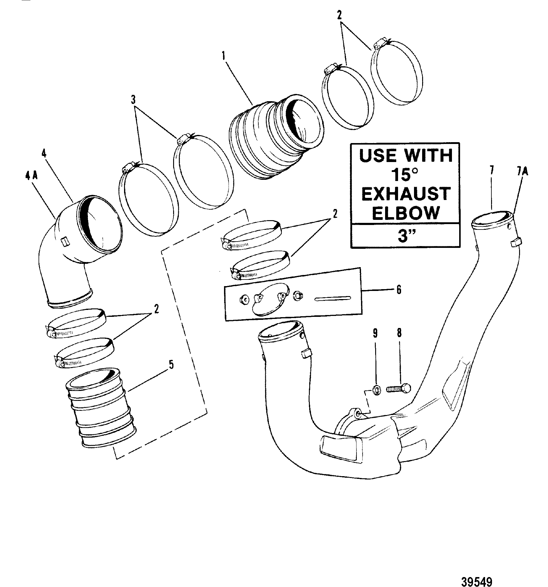 Exhaust System Use With 15 Degree Exhaust Elbow For