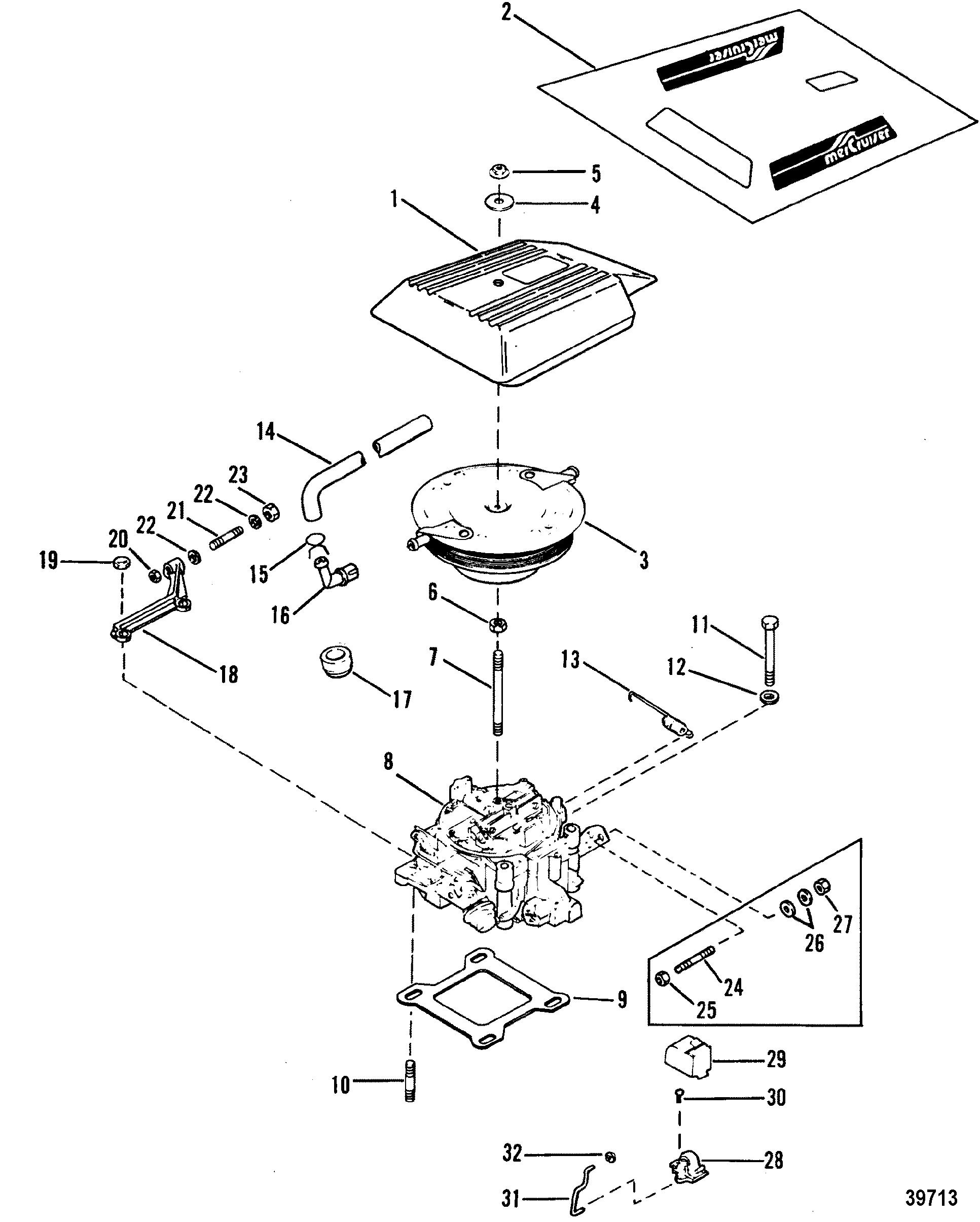 Carburetor And Throttle Linkage 4 Barrel For Mercruiser 4 3l 4 3lx Alpha One Engine 262 Cid