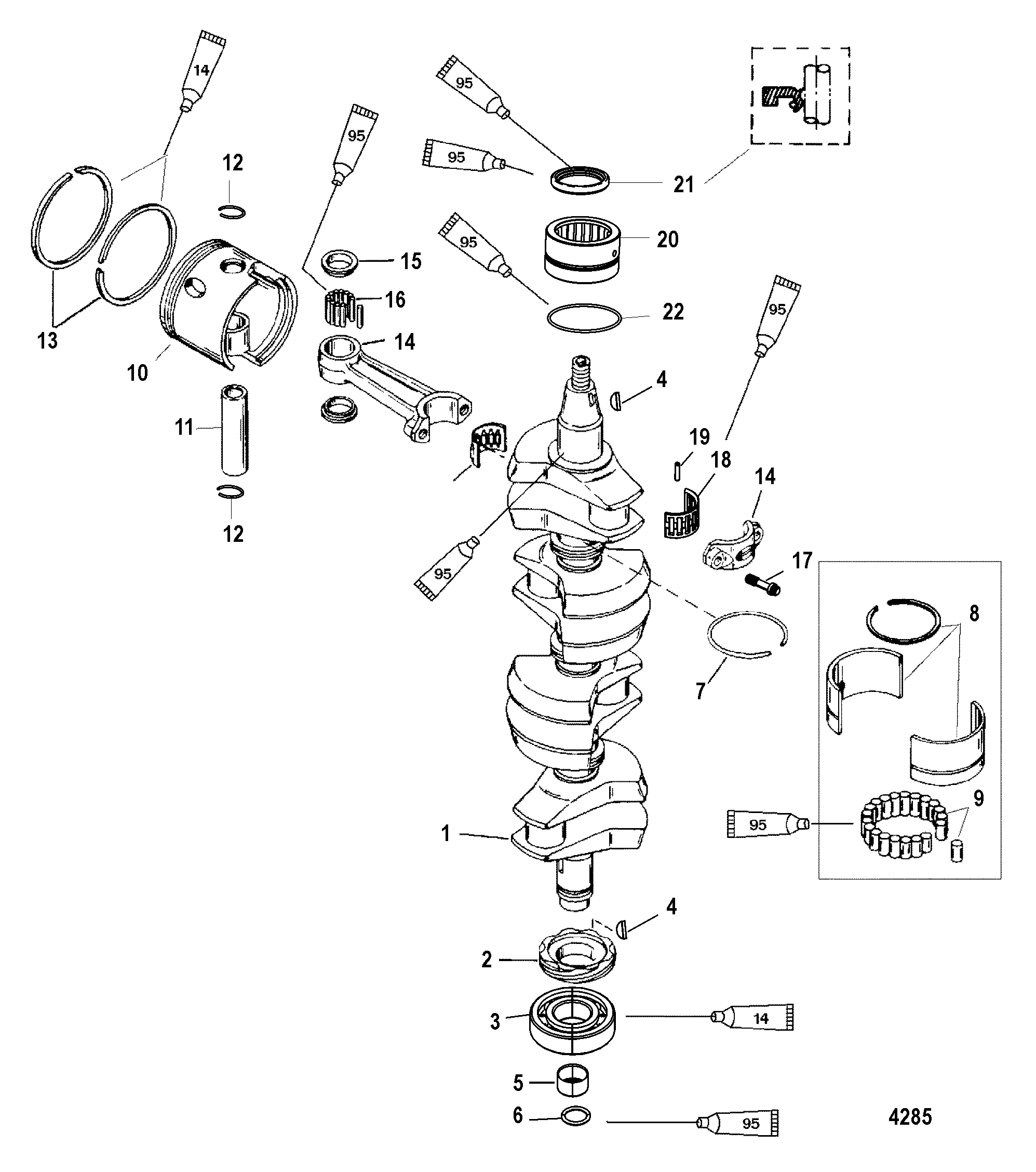 Crankshaft Pistons And Connecting Rods For Mariner