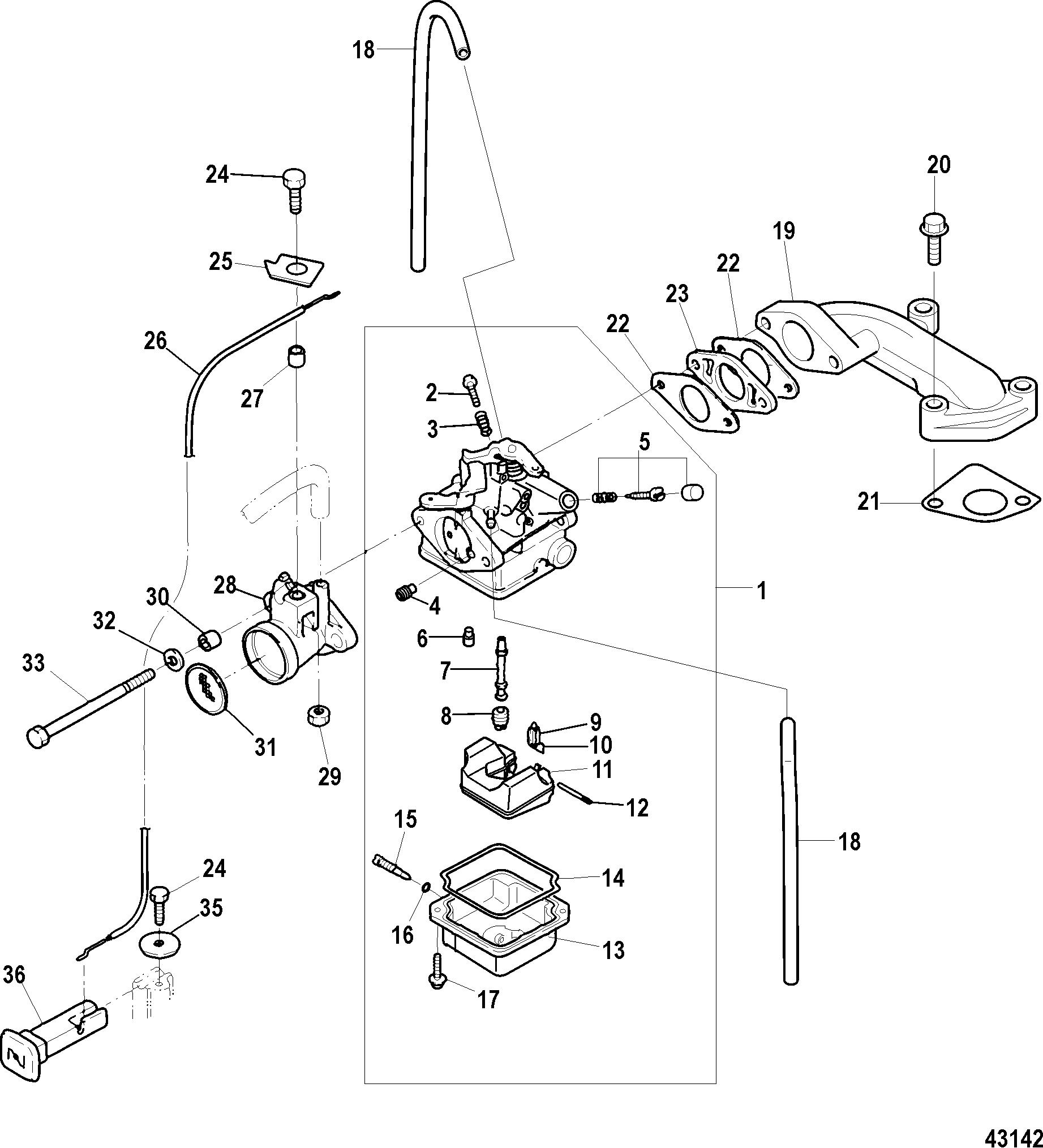 Carburetor Serial 0r And Up For Mariner Mercury