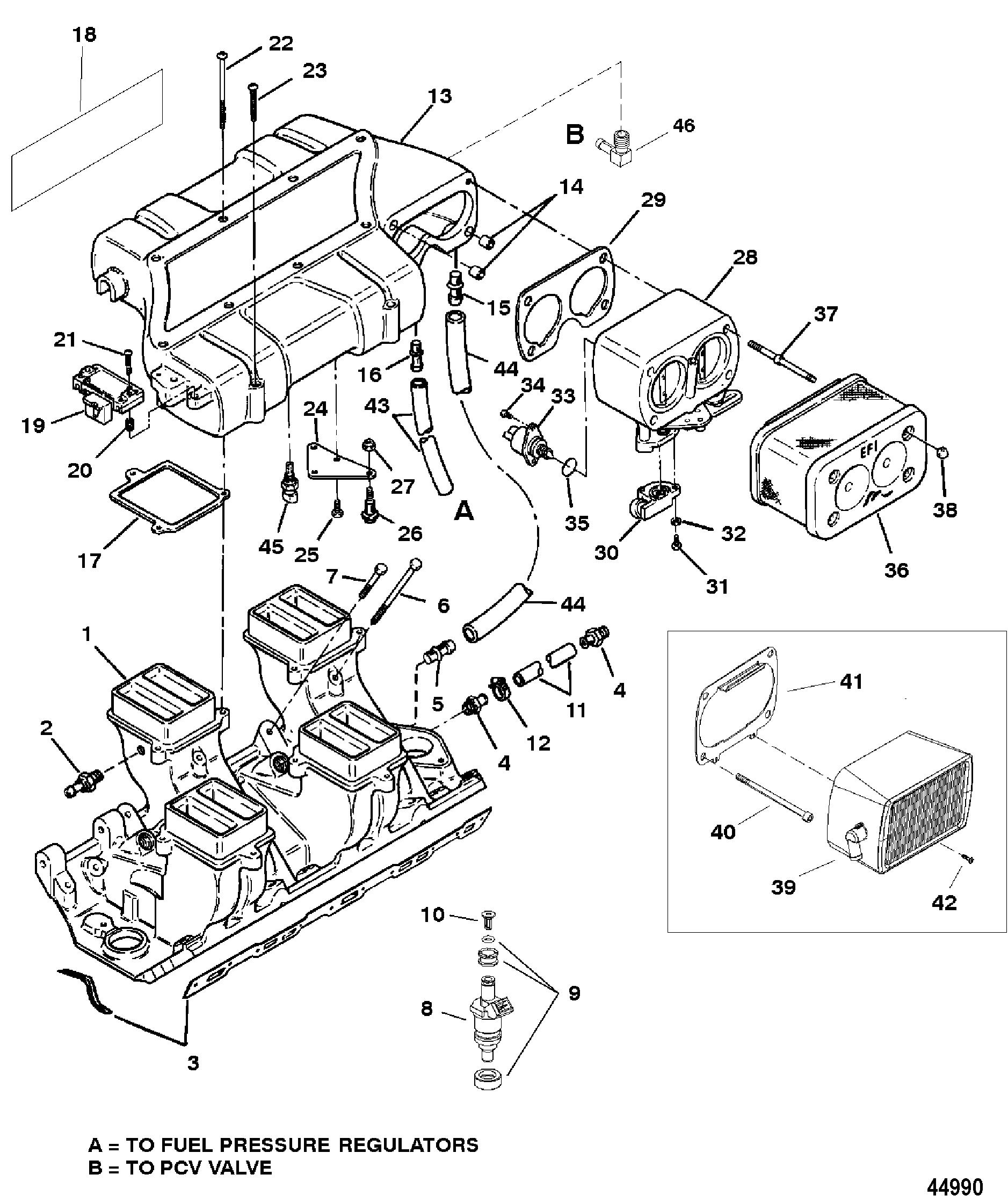 Intake Manifold And Intake Plenum For Mercruiser 7 4 Lx Efi Mpi Bravo Gen Vi