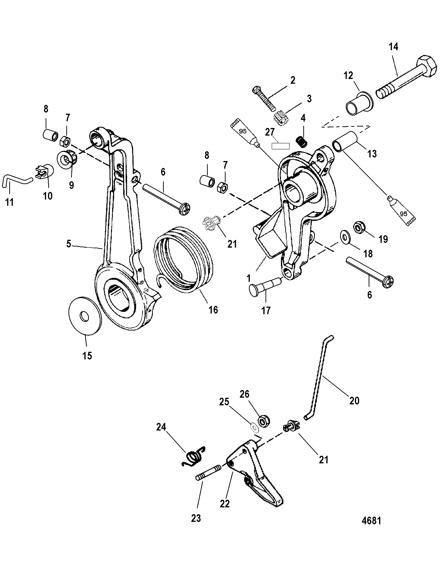 Throttle Lever And Linkage For Mariner Mercury 75 90 H P