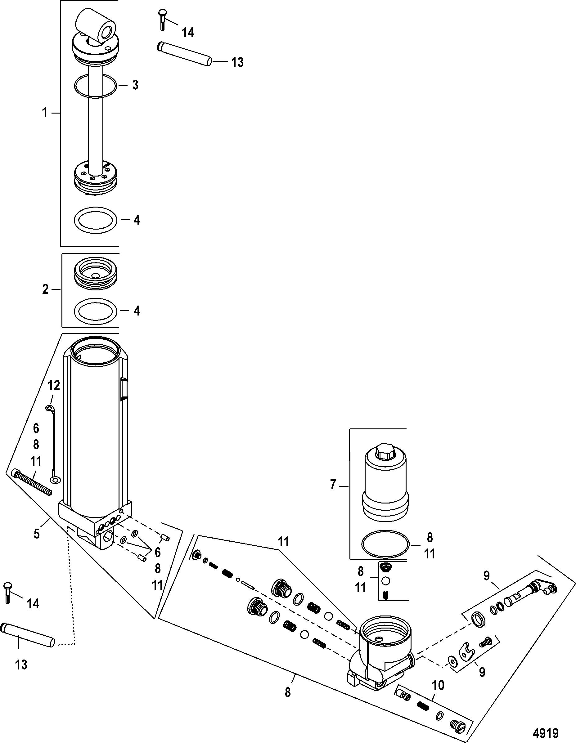 Manual Tilt Components For Mariner Mercury 40 50 60 Jet