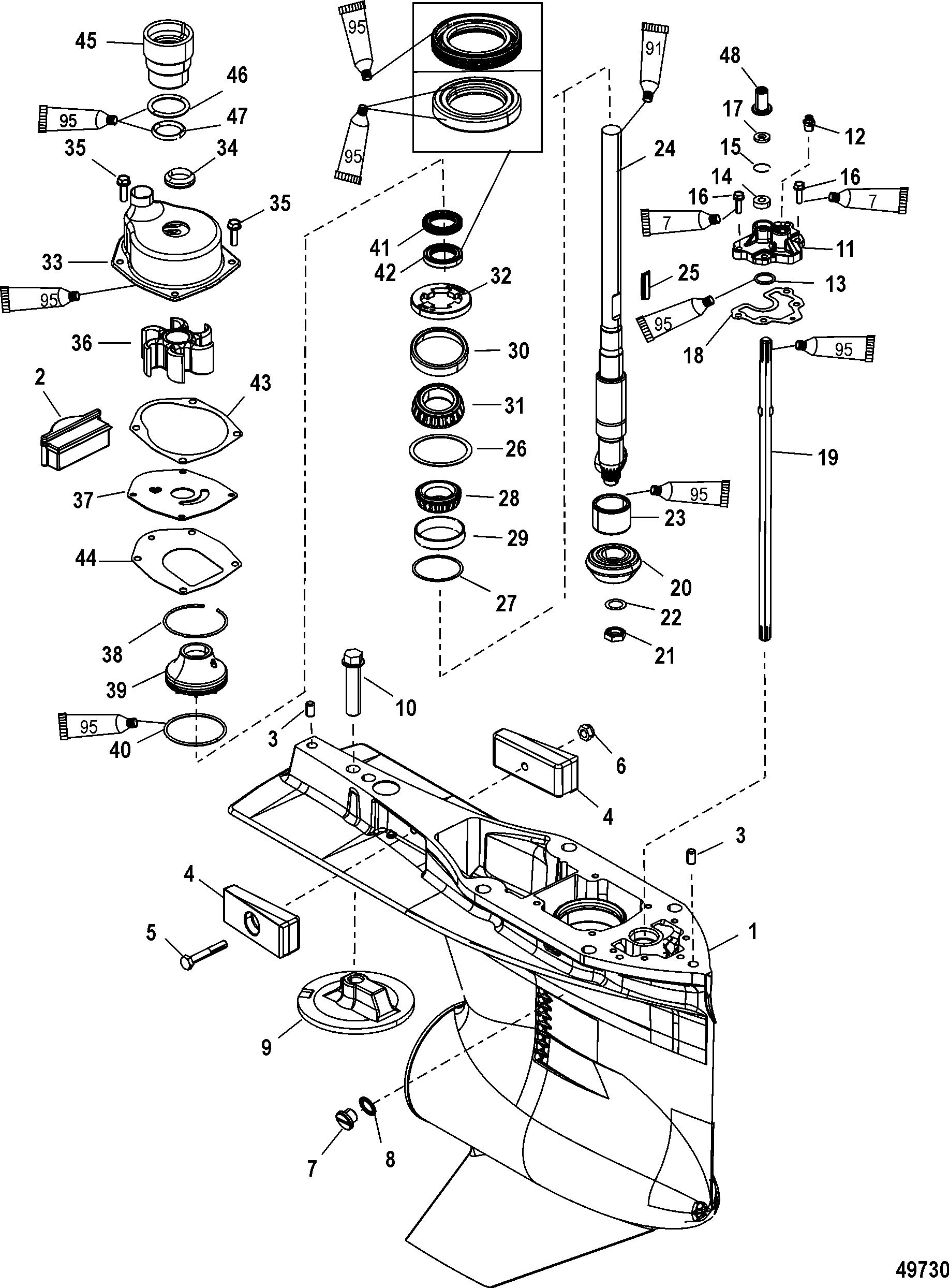 Gear Housing Driveshaft Standard Counter Rotation For
