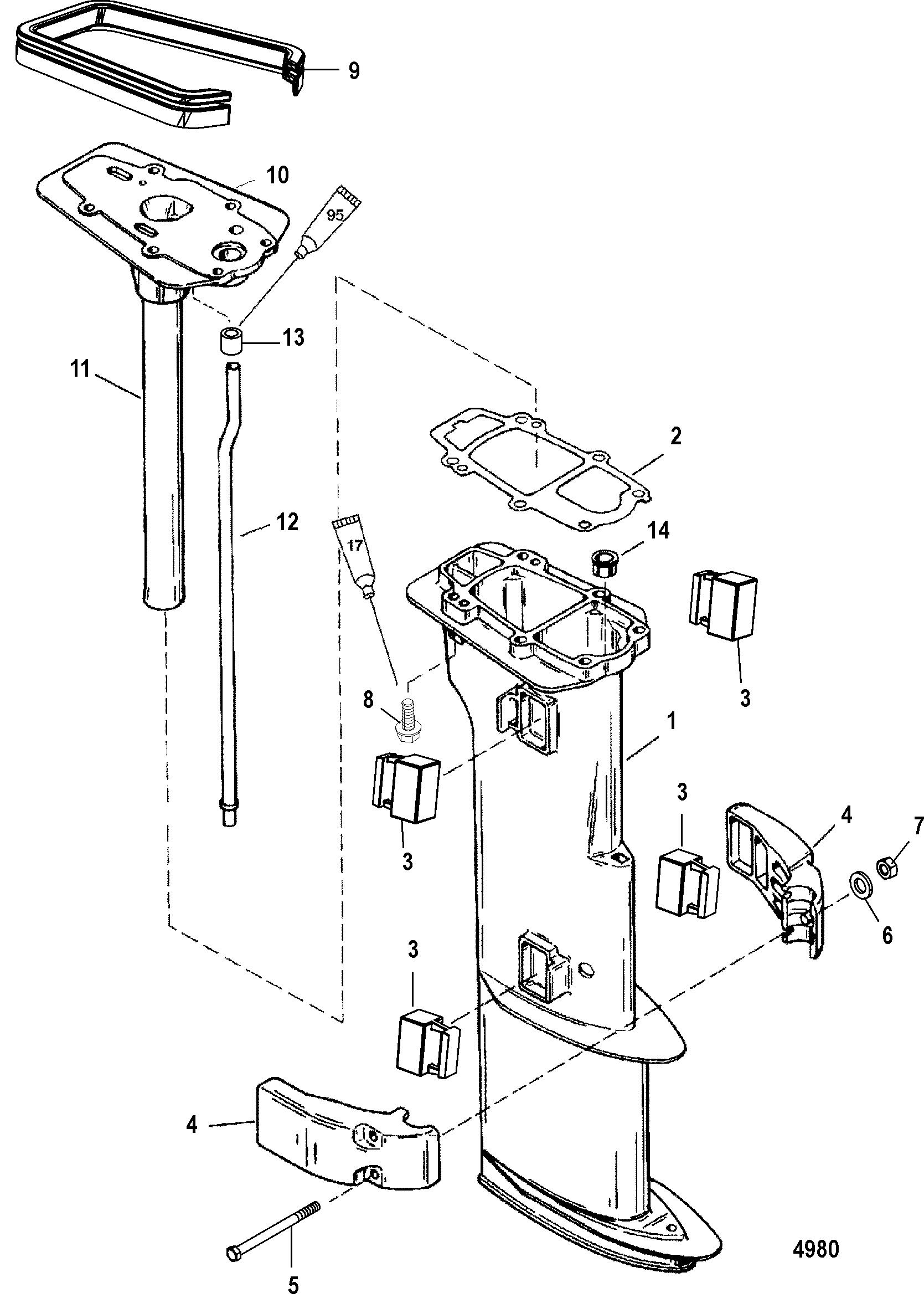 Driveshaft Housing For Mariner Mercury 8 9 9 13 5 15 2
