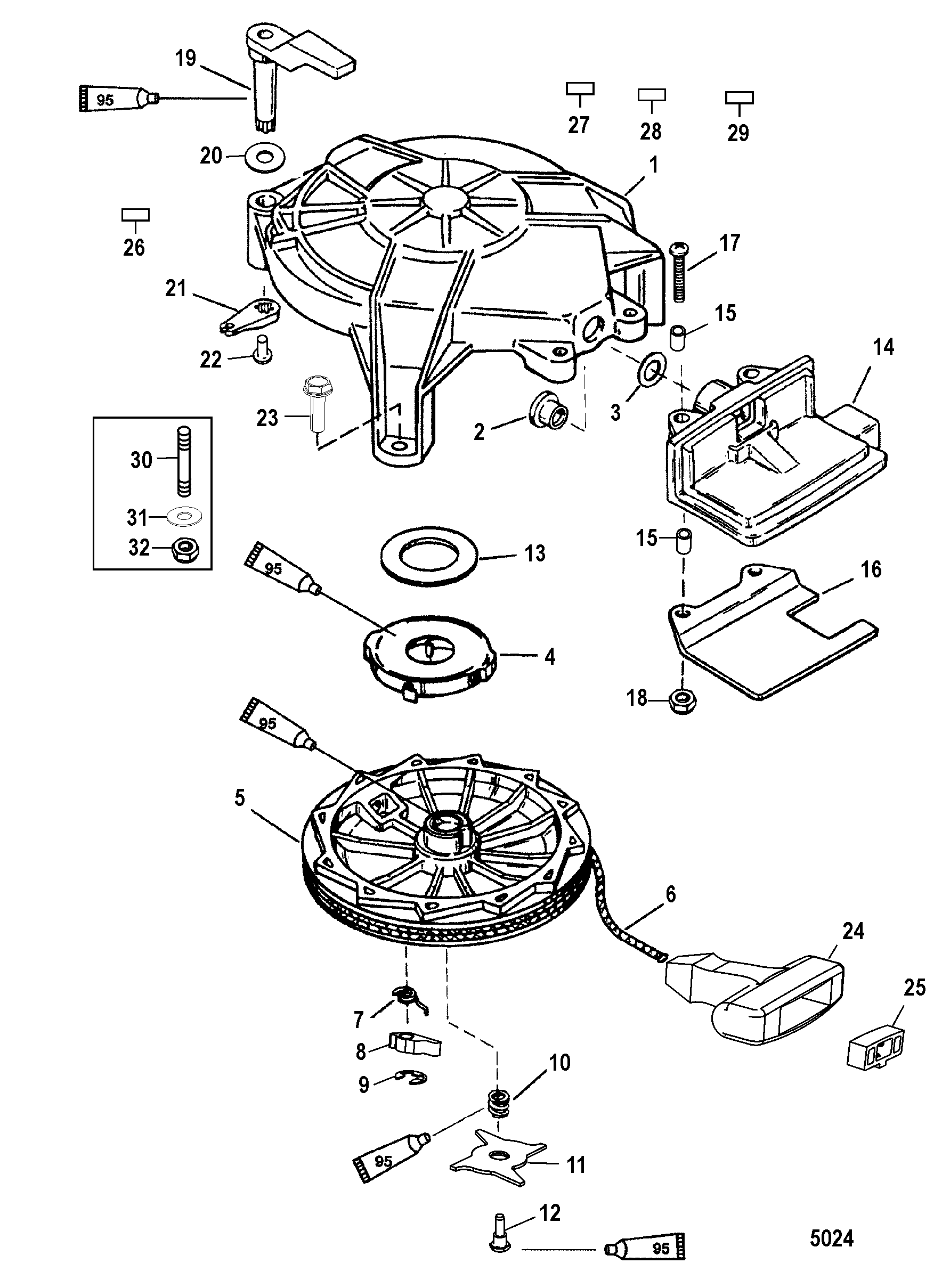 Manual Starter For Mariner Mercury 10 15 Seapro Marathon