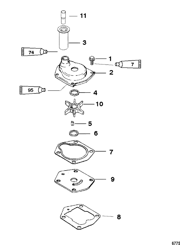 Jet Components For Mariner Mercury 40 50 Jet 30 3