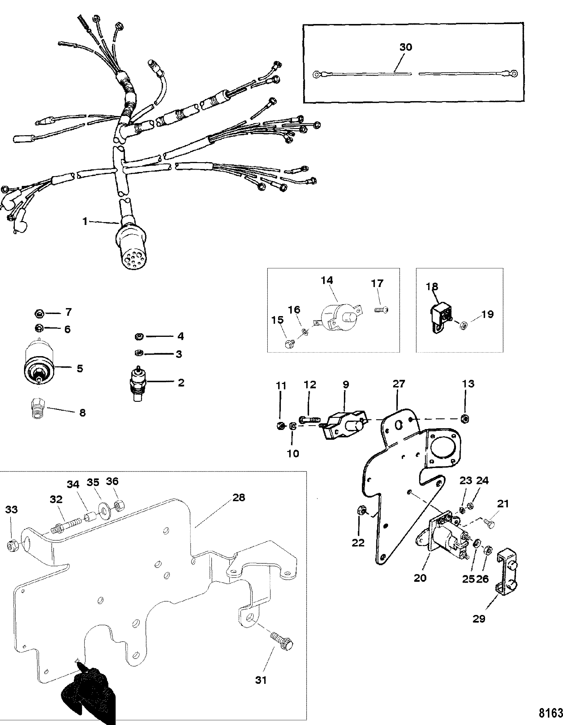 Wiring Harness And Electrical Components For Mercruiser 3