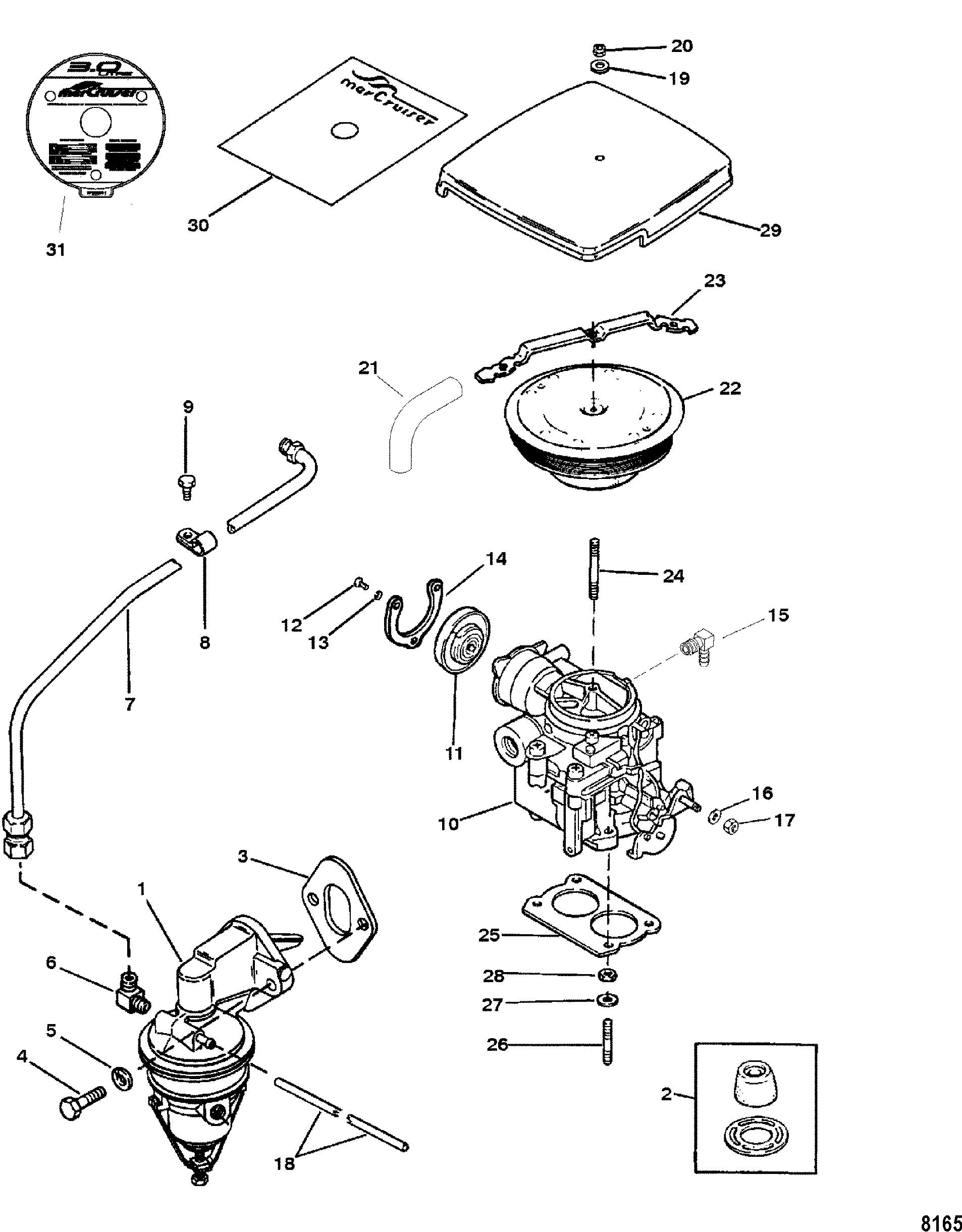 Fuel Pump And Carburetor For Mercruiser 3 0l Lx Alpha One