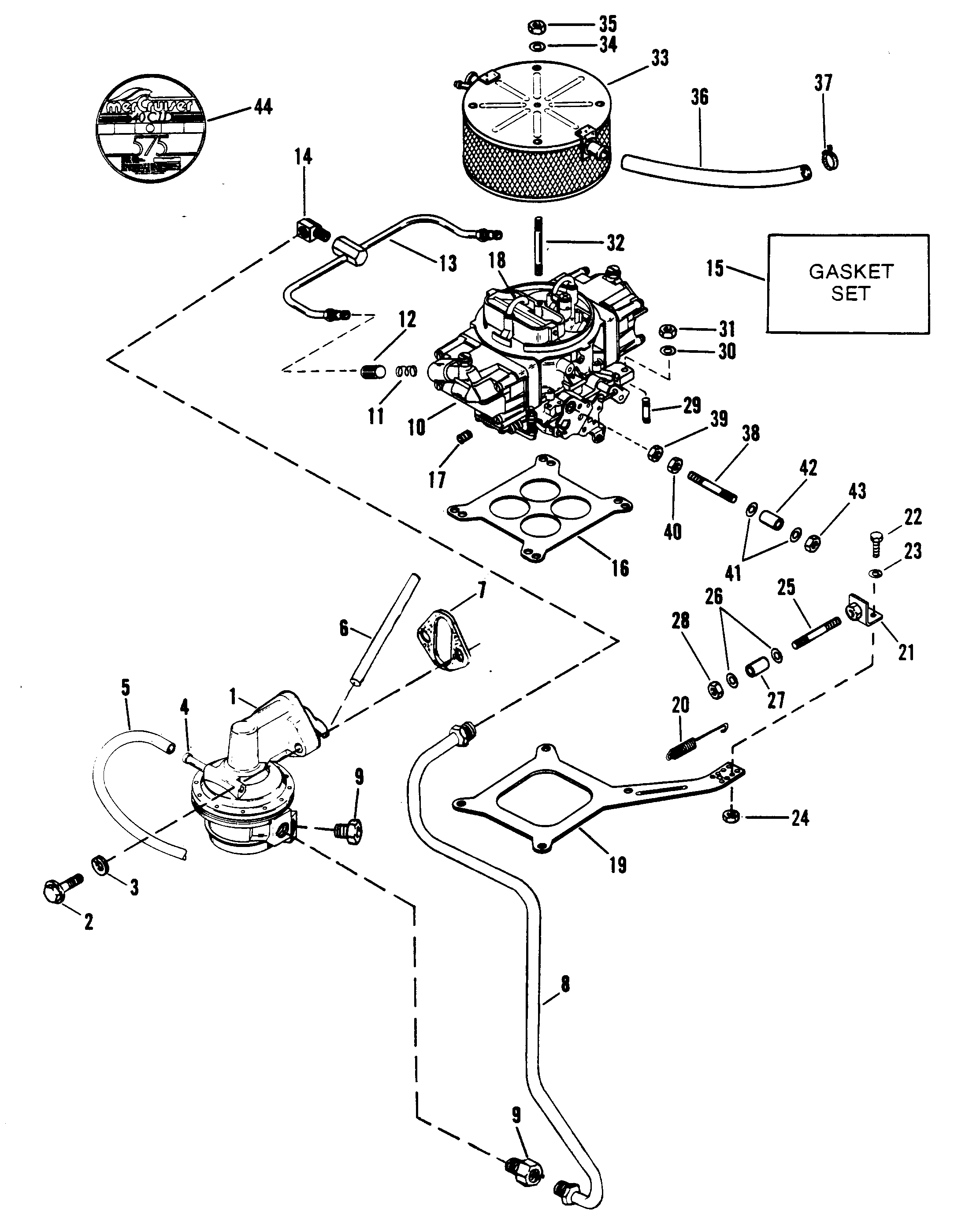 Fuel Pump Carburetor And Linkage For Mercruiser Race