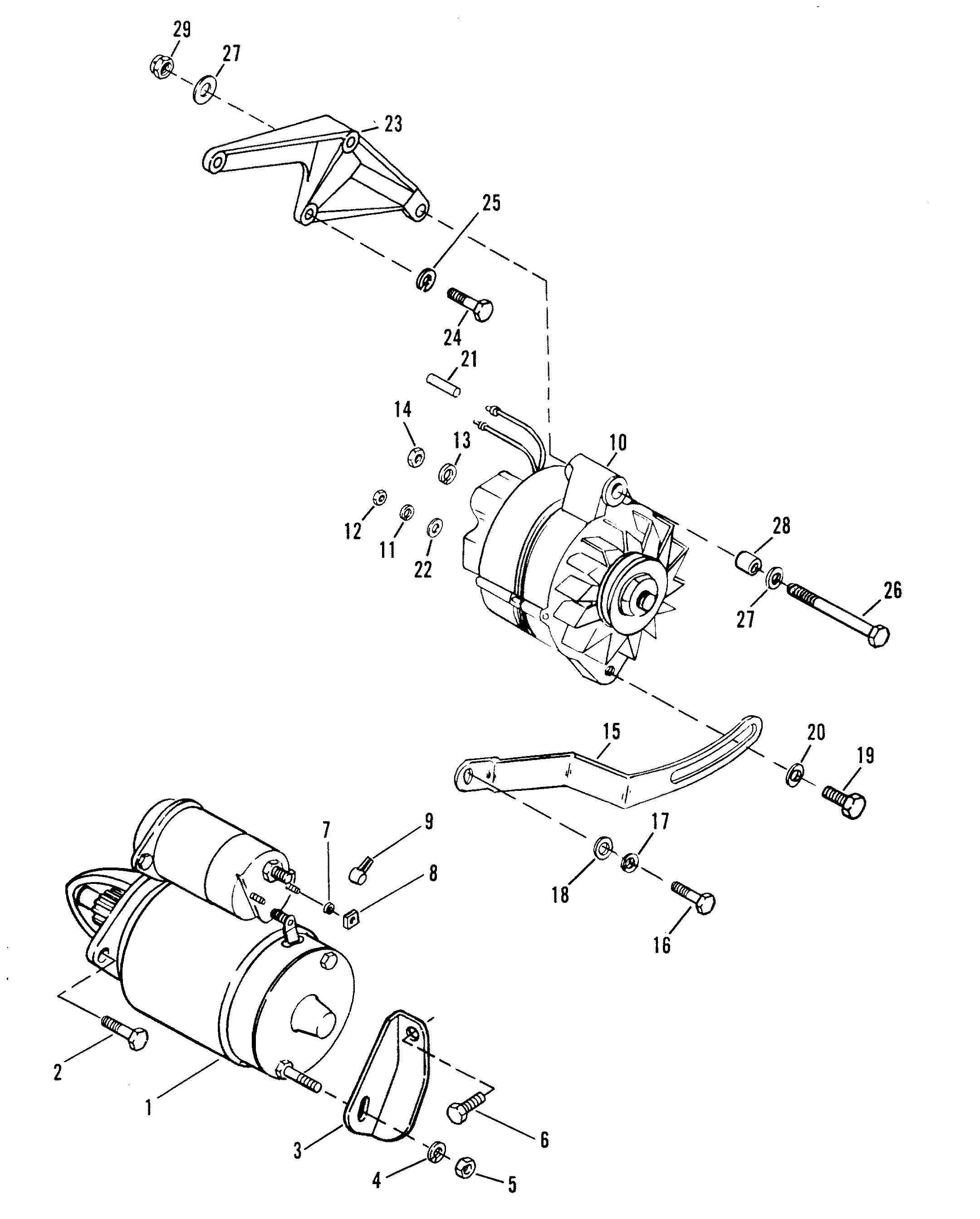 Starter And Alternator For Mercruiser 454 Magnum Bravo Engine