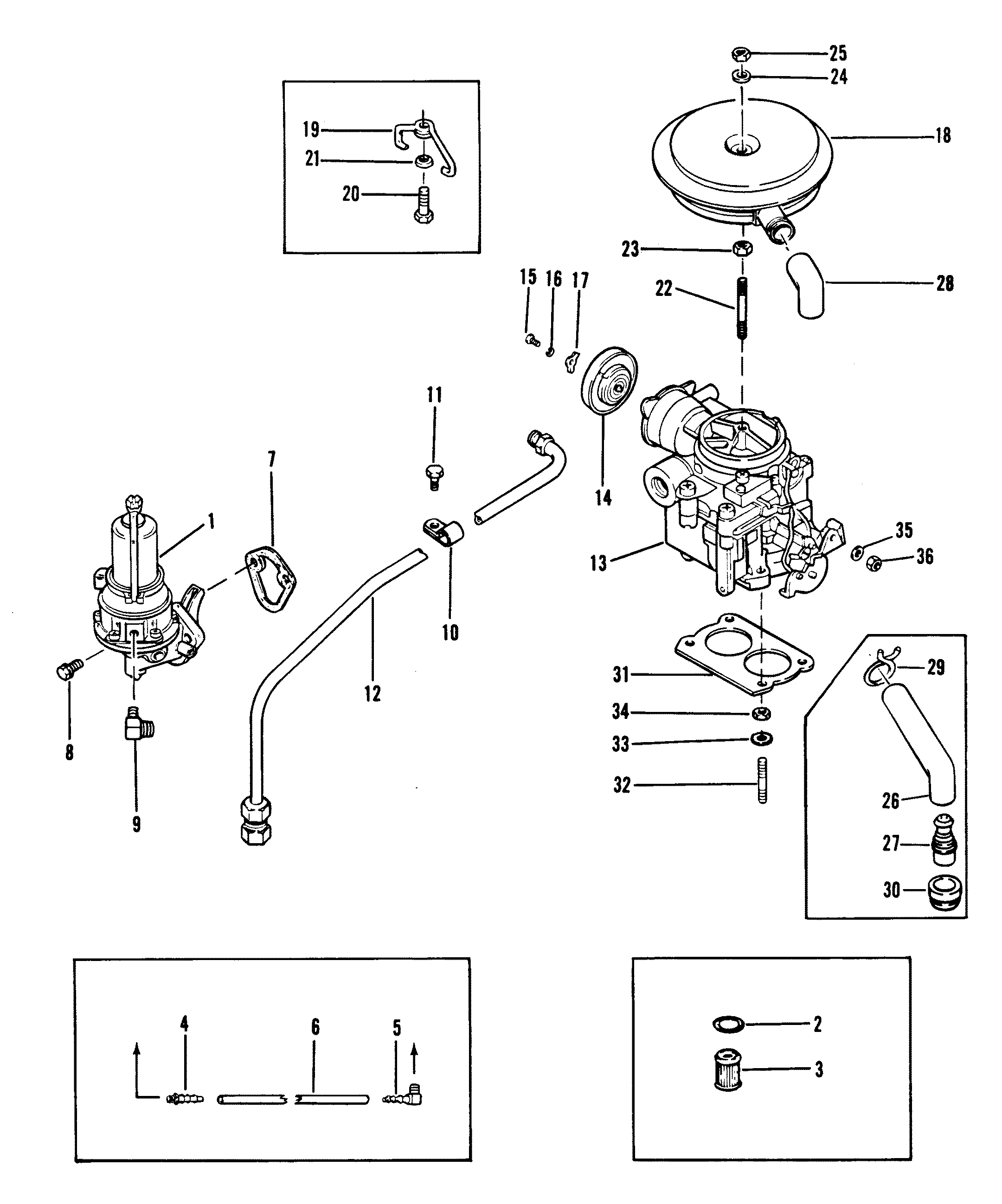Fuel Pump And Carburetor Old Design For Mercruiser 120 H P 2 5l140 H P 3 0l R Mr Alpha