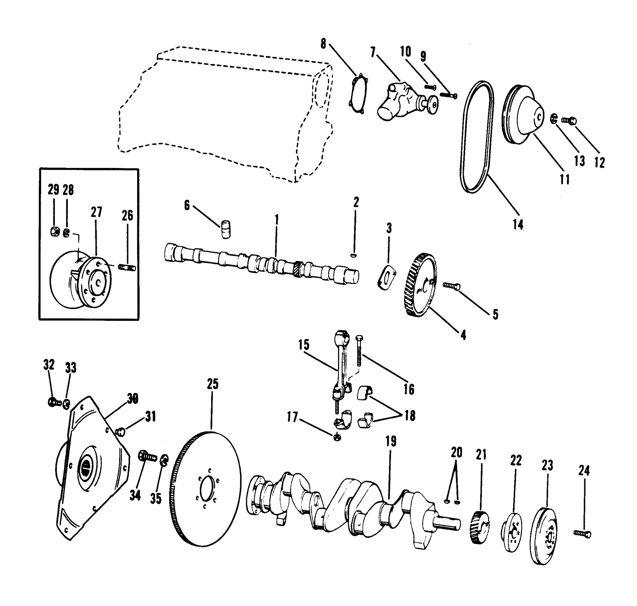 Crankshaft Camshaft Water Pump 120 2 5l 135 Cid For