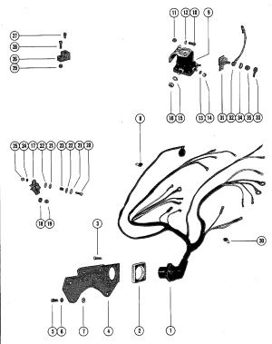 WIRING HARNESS, CIRCUIT BREAKER AND STARTER SOLENOID FOR MERCRUISER 898 STERN DRIVE 198 INBOARD
