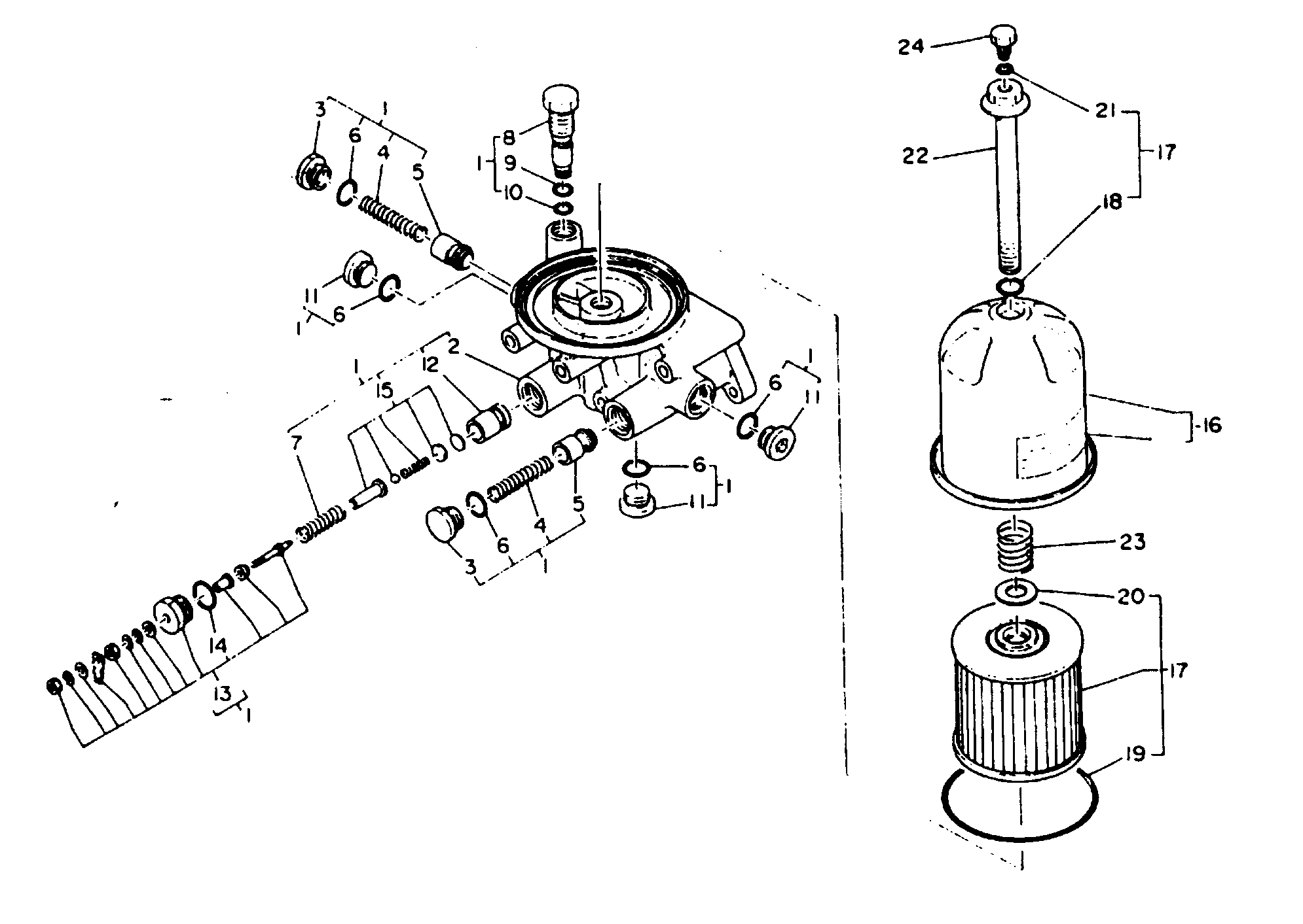 Oil Filter Base Assembly Element Set Oil Filter For Mie