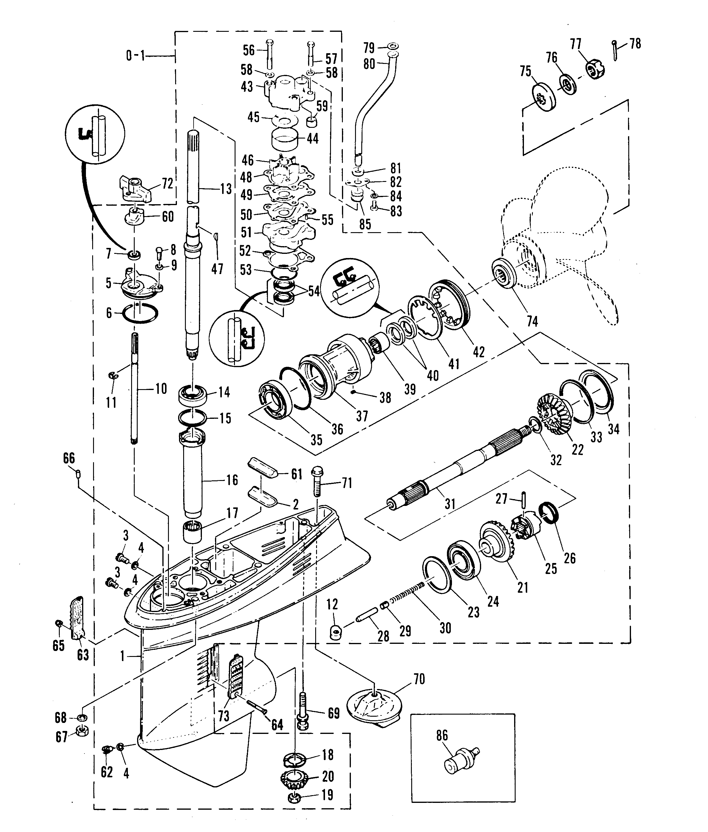 Gear Housing Assembly For Mariner 55 H P W Marathon