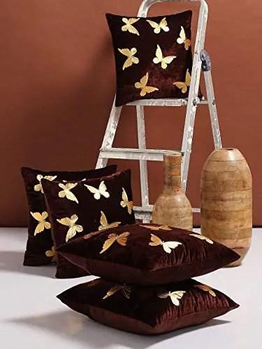 shopicted butterfly design velvet cushion covers 16 x 16 set of 5