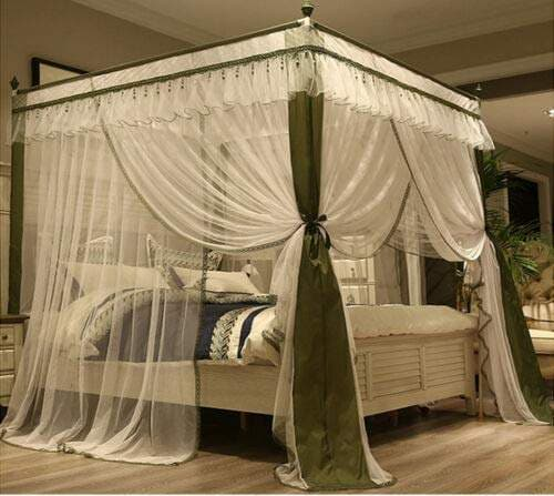 fidgetgear princess 4 corner post bed canopy curtain mosquito net full queen king size olive full