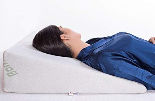fovera foam bed wedge pillow 1 5 memory foam top helps provide relief from acid reflux snoring post surgery white bamboo 7