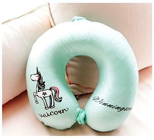 funblast unicorn soft neck pillow unicorn neck pillow for airplane travel for menwomen kids green