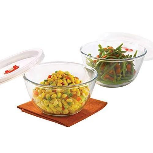 borosil basics glass mixing bowl with lid set of 2 900ml microwave safe