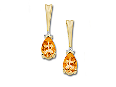 Citrine Earrings in 10K Gold with Diamonds