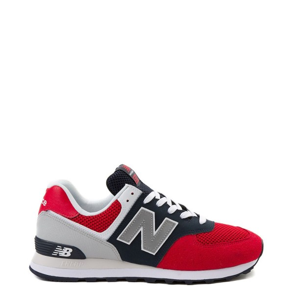 Mens New Balance 574 Athletic Shoe - Red / Navy / Gray ...
